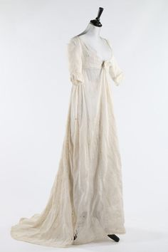 Whitework Embroidered Muslin Dress, ca. 1805
