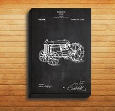 CANVAS - Tractor Patent, Tractor Poster, Tractor Print, Tractor Art, Tractor Decor, Tractor Blueprint by STANLEYprintHOUSE  34.99 USD  We use a specially manufactured cotton blend canvas for archival printing, and high end printers to produce a stunning quality canvas that's made to last.  The printing technology used for the canvas is eco-solvent.  Our art is guaranteed to turn heads and will make a great affordab ..  https://www.etsy.com/ca/listing/249323018/canvas-tractor-patent..