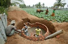 A typical household scale biogas digester in India. A big, permanent investment with a whole host of problems. (Photo credit: www.myclimate.org)