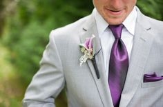 Guys wore grey suits, with purple ties|Photo by: taniskatie.com