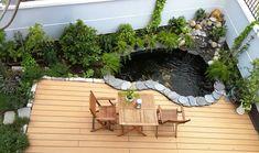 thiet ke ho ca koi ngoai troi Garden Bar, Terrace Garden, Indoor Garden, Fish Pond Gardens, Small Gardens, Patio Design, Garden Design, Indoor Water Features, Casa Patio
