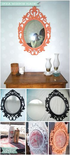 DIY Ikea Mirror Hack, Colorful ornate mirror, Peach Mirror, Spray Painted Mirror, Wouldn't it be Lovely
