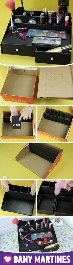 Makeup Organization Diy Creative 24 Ideas For 2019 Diy Crafts Hacks, Diy Home Crafts, Diy Arts And Crafts, Diy Craft Projects, Kosmetik Box, Diy Para A Casa, Carton Diy, Diy Karton, Make Up Organizer