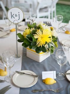 lemon theme wedding inspirations table centerpiece