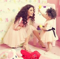 Cyrine Abd Nour And His Little Daughter In Mothers Day Arab Celebrities Fashion