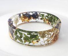 Fern leaves bangle Gold bracelet  Best friend gift Flower