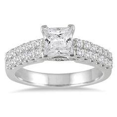 1.5ct D/VVS1 Diamond Princess Solitaire w/Accents 14k White Gold Engagement Ring #Jewelsbyeanda