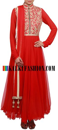 Buy Online from the link below. We ship worldwide (Free Shipping over US$100) http://www.kalkifashion.com/red-anarkali-suit-featuring-with-embellished-bodice-in-pita-zari-only-on-kalki.html