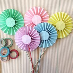 Paper rosettes birthday diy cake toppers