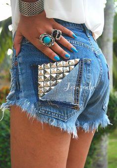 Studded shorts,high waist jeans shorts,denim shorts by Jeansonly via Etsy