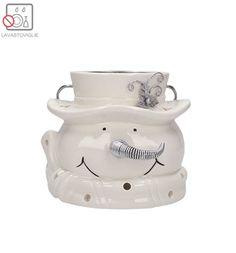 TOGNANA Portacandele pupazzo neve t-light silver bianco