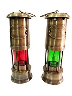 6/'/' ANTIQUE VINTAGE STYLE BRASS NAUTICAL GREEN GLASS MINER SHIP LANTERN OIL LAMP