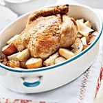 Roasted Chicken with Onions, Potatoes, and Gravy Recipes -- the best whole chicken recipe EVER. It's a Cooking Light recipe from Chuck Williams, founder of Williams-Sonoma. The whole house smells so good. DON'T SKIP THE GRAVY PART. Best Roasted Chicken, Roast Chicken, Roasted Meat, Chicken Potatoes, Rotisserie Chicken, Great Recipes, Favorite Recipes, Dinner Recipes, Duck Recipes