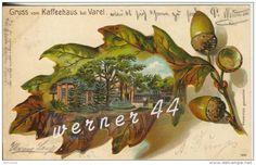 Gruss Varel v. 1904  Kaffeehaus im Eichenblatt -- Prägedruck !!  (1256)