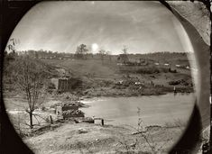 """May 1864. """"Rappahannock River, Virginia. Ruins of bridge at Germanna Ford, where the troops under General Grant crossed May 4."""" Wet plate glass negative by Timothy O'Sullivan. (Though the caption on the negative sleeve says Rappahannock, Germanna Ford seems to have been on the Rapidan River.)"""