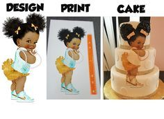 African American baby shower princess edible print for baby shower cake. Lots of colors and styles available!