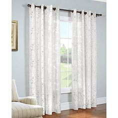 Common Wealth Home Fashions Charlotte Burnout Panels, 52 by 63-Inch, White  For entryway and 2 bedroom windows