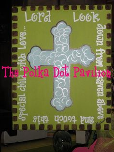Door hanger for a baby boy. Personalize with baby's name in center of cross.