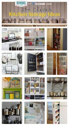 25+ Clever Kitchen Storage Solutions! So many great ideas! #kitchen #organization