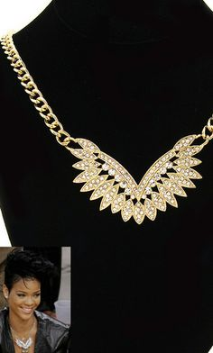"""RIHANNA"" CRYSTAL ANGEL WING NECKLACE"
