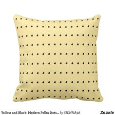 Yellow and Black  Modern Polka Dots Pillow