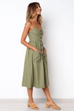 Ascot Dress - Khaki