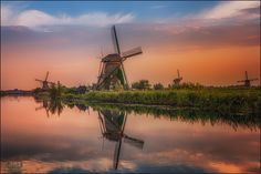 A Golden Touch - Typical golden hour scenery at Kinderdijk (Holland). As if a orange/golden finger touches the windmills one last time before the sun dies and blue hour kicks in.......