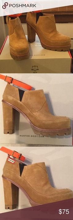 Hunter suede platform boots Neon orange ankle straps 🔥 these are for narrow feet! Gently used - some very minor scuffs as seen above...these look amazing with ankle skinny jeans 💥 Please don't wear them in the ☔️ 😌 Hunter Shoes Ankle Boots & Booties