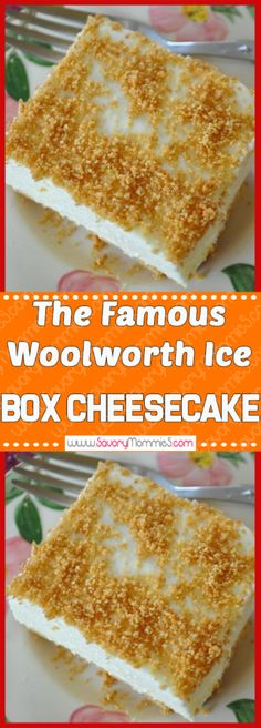 The Famous Woolworth Ice Box Cheesecake Yummy Mommies - meal receipts & list of dishes and heart healthy recipes No Bake Desserts, Easy Desserts, Delicious Desserts, Dessert Recipes, Yummy Food, Easy Sweets, Yummy Eats, Summer Desserts, Dessert Ideas