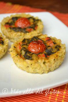 Más allá del gluten...: Tartaletas de Arroz Integral con Espinaca y Pimentón (Receta GFCFSF, Vegana)