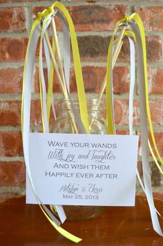 Made with painted sticks, vintage ribbon, and fabriic scraps Wedding Ribbon Wands Pack of 50 - Double Ribbon - two Ribbons, Includes a matching sign Wedding Send Off, Our Wedding Day, Wedding Signs, Diy Wedding, Wedding Favors, Rustic Wedding, Dream Wedding, Wedding Ideas, Wedding Ribbon Wands