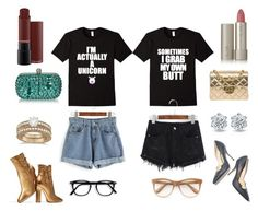 """""""Graphic Tees"""" by bookworm528 on Polyvore featuring Chanel, Paul Andrew, Gianvito Rossi, Allurez, Ilia and Wildfox"""