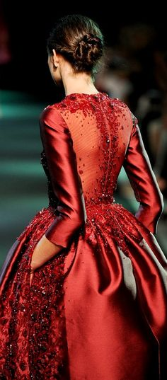 Couture surface embellishment - beaded red dress; exquisite fashion details // Georges Hobeika