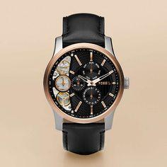 FOSSIL® : Twist Leather Watch - Black ME1099