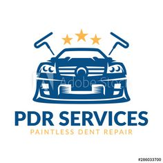 Paintless Dent Repair logo, PDR service logo, automotive company - Buy this stock vector and explore similar vectors at Adobe Stock Service Logo, Logos, Royalty Free Stock Photos, Car, Automobile, Cars, Logo, Autos