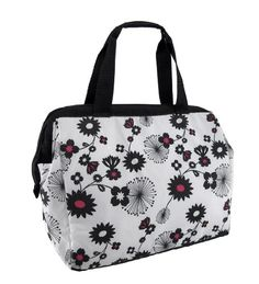 THERMOS Raya 9-Can Duffle Tote Cooler - Black  amp  White Flowers Thermos 4362e77d8