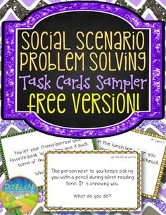Free Social Problem Solving Task Cards for Elementary Kids - Social Skill ThinkingThis Social Problem Solving Task Cards set is a free sampler of 10 fun task cards that highlight social scenarios and situations that kids can discuss and identify how they would solve each situation.