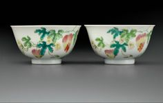 A pair of famille rose 'Bitter melon and Butterflies' bowls,Daoguang six-character seal marks in underglaze blue and of the period (1821-1850)
