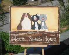targa Home Sweet Home gatti. dipinta. disegno ispirato gatti di Shelly Comiskey