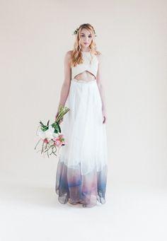 Esha Dress  by Lorie X   Handprinted coloured wedding dress   Cut Out detail   Whisper & Blush