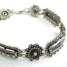 Sterling Silver Bracelet Filigree Ethnic Woman Jewelry  by adiaart