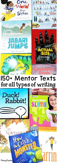 over 150 mentor texts for writing organized by kindergarten, first grade, and second grade! Mentor t Writing Mentor Texts, Mentor Sentences, Narrative Writing, Opinion Writing, Persuasive Writing, Writing Lessons, Writing A Book, Letter Writing, Texts