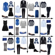 15 Item Capsule Wardrobe (Cool Blue) by minimaliststylist on Polyvore featuring M&Co, DUBARRY, J.Crew, Vero Moda, Old Navy, M&S Collection, Calvin Klein Collection, maurices, Nine West and Lane Bryant