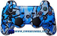 Electric Blue Predator Camo Custom Modded PS3 Controller  #ps3 #customcontroller #ps3controller #customps3controller #moddedcontroller #kwikboymodz #gaming