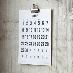 2014 Wall Calendar 11 x 17 Big Numbers Off White by decoylab, $20.00