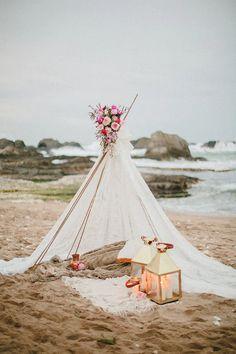 boho seaside wedding tent for two