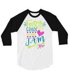 Glitter Kindergarten is my Jam  Kid's Baseball Shirt|Back to School Raglan Shirt by GavinsAllyeDesigns on Etsy