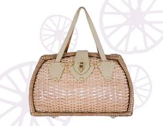Vintage 1960s Faux Straw Handbag With Leather by FripeFabrique ...