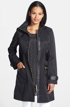 Free shipping and returns on Via Spiga 'Tassel' Hooded Raincoat with Faux Leather Trim (Regular & Petite) at Nordstrom.com. A wide band of channel-stitched faux leather girds the waist of a classic hooded raincoat to create a chic, feminine silhouette. More trim details the placket, pockets and cuffs for a sophisticated update.