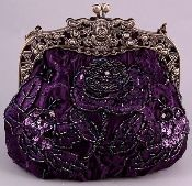"""Purple Victorian Purse / Embellished with rhinestones, beads and sequins / Measures 6.75""""L x 6"""" H x 4""""W / 2 chain straps, 36"""" and 12"""" / $30 on bobbisbobbles.com"""